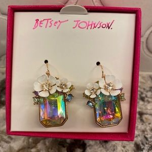 Betsey Johnson Jeweled Floral Earrings